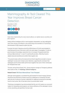 Mammography AI Tool Cleared This Year Improves Breast Cancer Detection _ Diagnostic Imaging